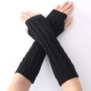 Black New Knitted Fingerless Gloves Warmers