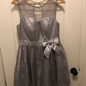 Silver satin and rhinestones formal dress