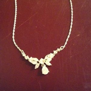 Vintage Silver Avon rhinestone necklace looks new