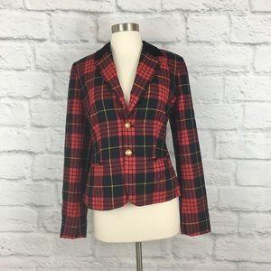 C Wonder Plaid Velvet Collar Wool Holiday Blazer