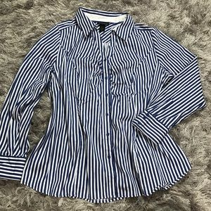 Lane Bryant & white striped button-down SZ M
