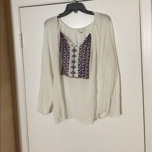 Forever 21 plus white embroidered blouse