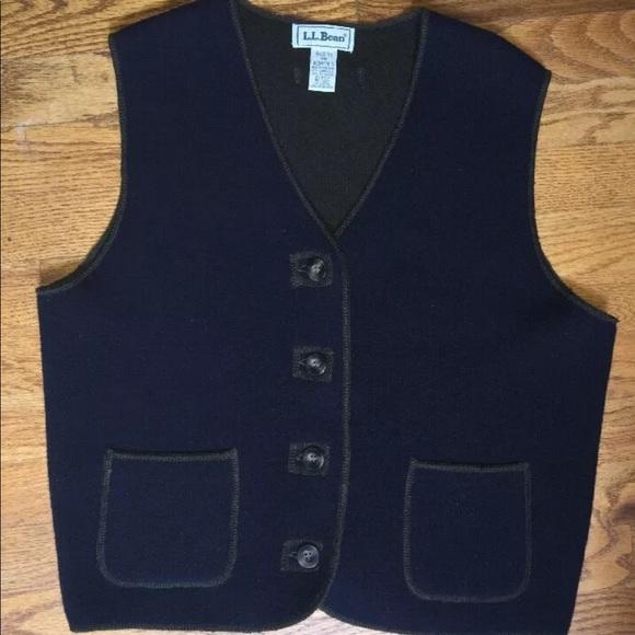 330d7f58cb LLBean Womens Lambswool Blend Navy Cardigan Vest S