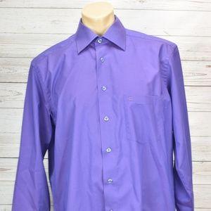 Casa Moda Mens Button Front Shirt Size 42 XL Blue