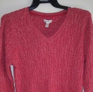 NWT Red and white v neck sweater