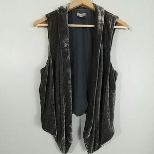 J.Jill Grey Crushed Velvet Lined Vest Size Small