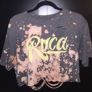 Insanely soft gray RVCA distressed crop T-shirt