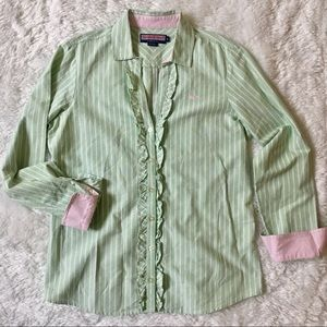 Vineyard Vines Green Pink Ruffle Button Down Top
