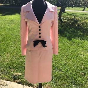 Pink Suit with Black Velvet Bow + Velvet Buttons