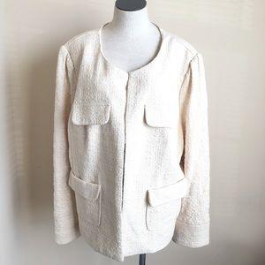 Pleoine Nordstrom Tweed Cream Lined Blazer Studded
