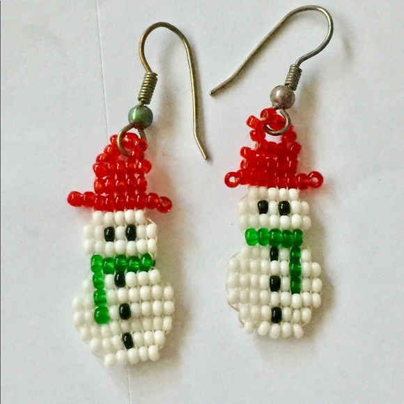 3d421f2d705e1 Vintage beaded SNOWMAN Christmas Earrings dangle