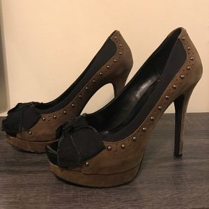 Suede Jessica Simpson Peep Toe Pump with Bows