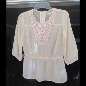 Shear peach blouse