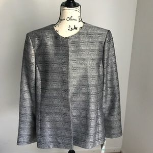 Kasper Open Front Blazer Black/Silver Size 16 NWT