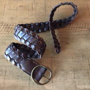 GAP brown leather braided belt XS