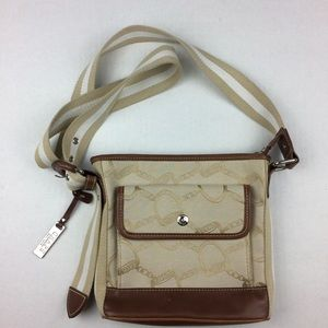 CHAPS khaki and brown canvas crossbody bag