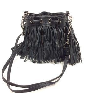 CARLOS chain and fringe drawstring bucket bag