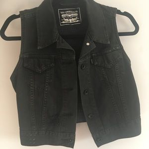 Levi's Distressed Black Denim Crop Vest Sz S