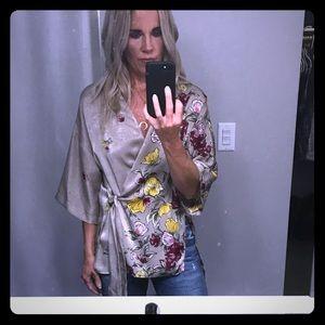 Zara wrap blouse xs