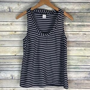 J Crew silk Twyla tank top blue white striped 12