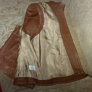 Coldwater Creek Jackets & Coats - Coldwater Creek Brown Leather Vest
