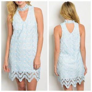 New blue crochet choker dress
