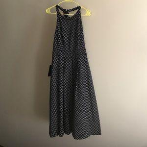 Navy blue polka dotted midi dress
