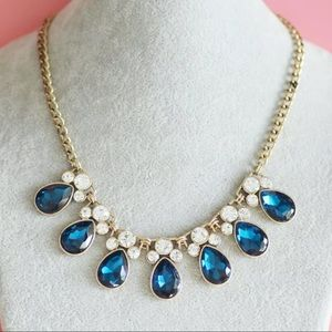 New! J. Crew Blue Crystal Teardrop Bib Necklace