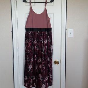 Mauve floral midi dress size xl