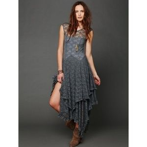 free people french courtship slip dress lace gray