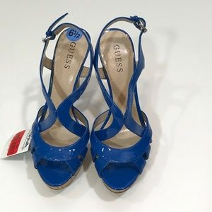 Guess electric blue platform heels