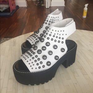 "Jeffrey Campbell white sandals ""perdiem"" 7.5 new"