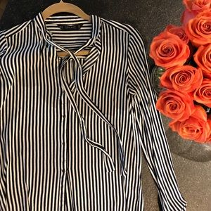 Crepe Striped Blouse With Neck Tie