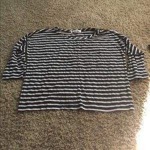 Forever 21 Women Top Large Striped Blouse Shirt
