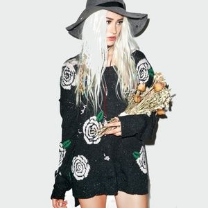 Wildfox Shredded Roses Destructed Sweater