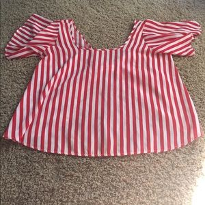 Forever 21 Women Top Blouse Striped Open Back L