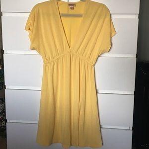 Short sleeve, deep V dress.