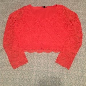 Peach colored lace crop top