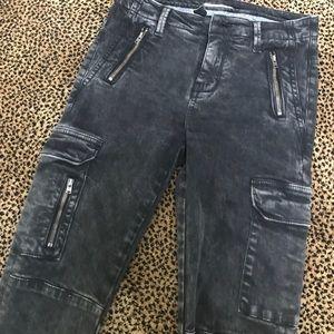 Zara Black Moto Faded Acid Wash Jeans Size 2 Eur34