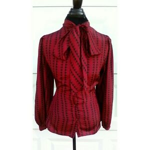 Red and Black Vintage Bow Blouse