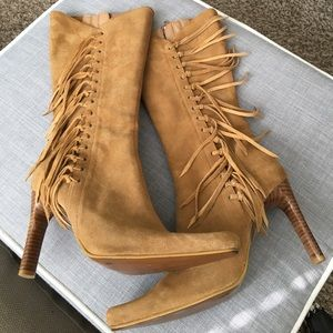 MIA Tierney Fringe Boots Size 7 Leather Heels