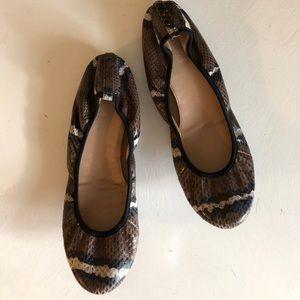 J Crew snakeskin leather ballet flats