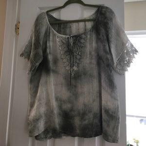 One of a kind cotton woven tie dye top