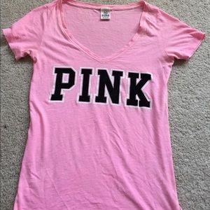 Pink brand short sleeve tee shirt