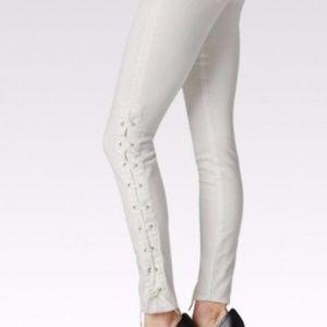 Paige Denim Verdugo Skinny White Lace Up Jean