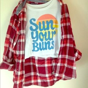 Plaid shirt w/ summer crop top both for sale
