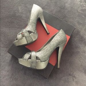 Grey (pewter) sparkle G by Guess platform heels
