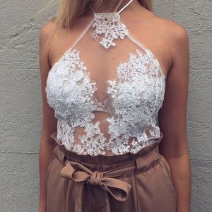 Silver lace halter crop top