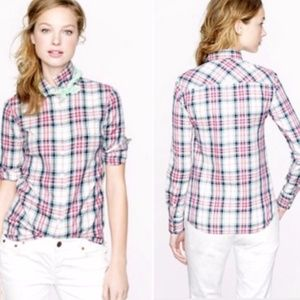 J.Crew Boy Shirt in Mint Strawberry Plaid