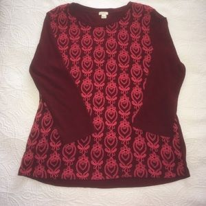 J.Crew maroon embellished long sleeve tee